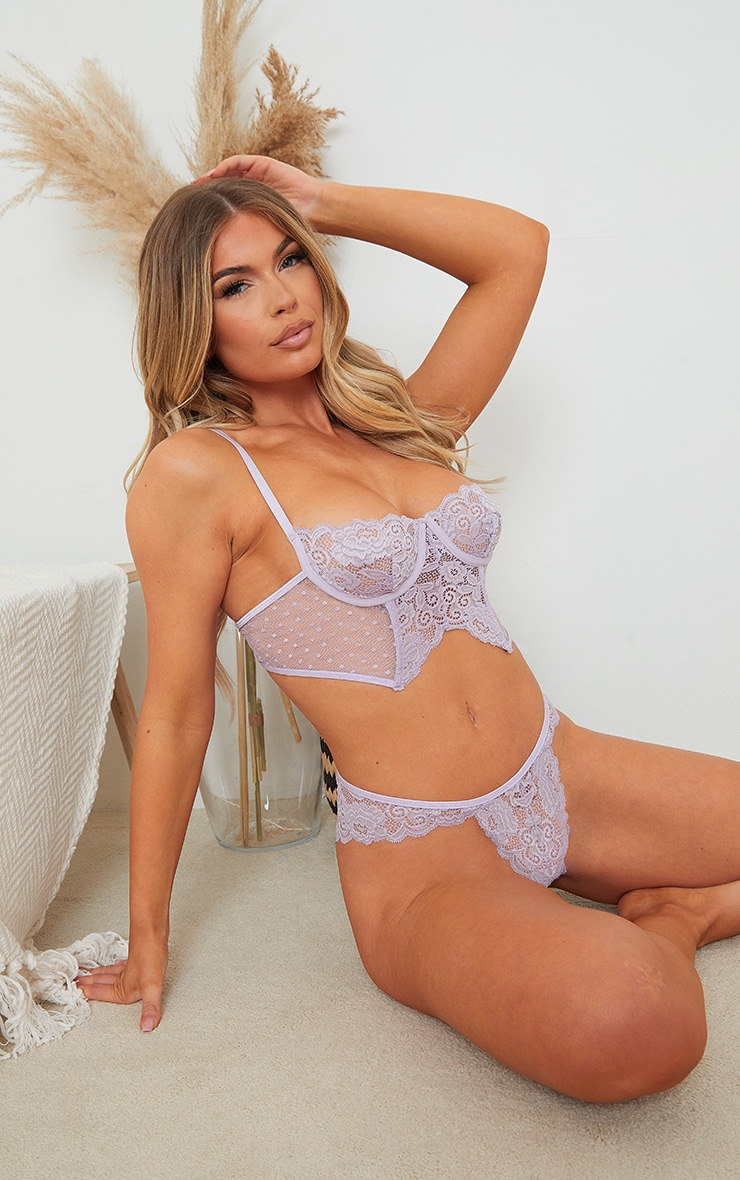 Lilac Underwired Longline Lace And Mesh Lingerie Set 1