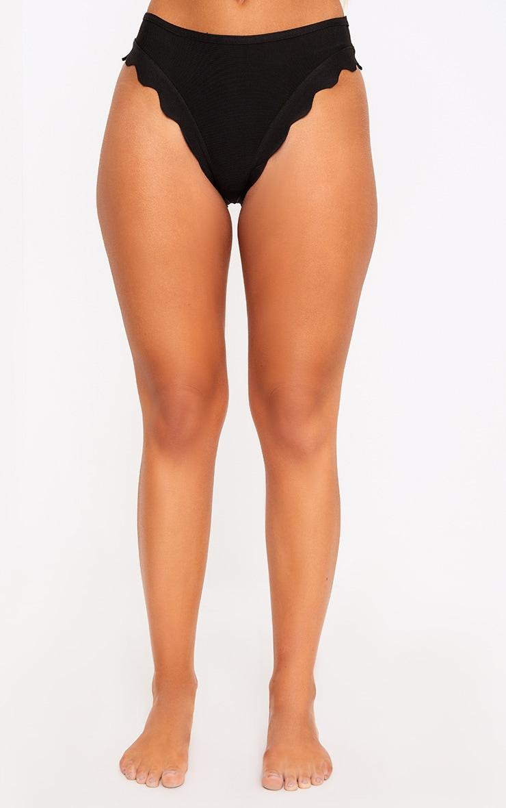 Ensemble de bikini bandage noir à ourlet festonné  3