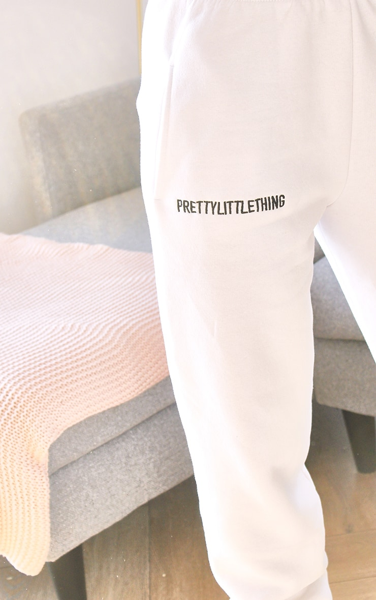 PRETTYLITTLETHING White Embroidered Slogan Joggers 4