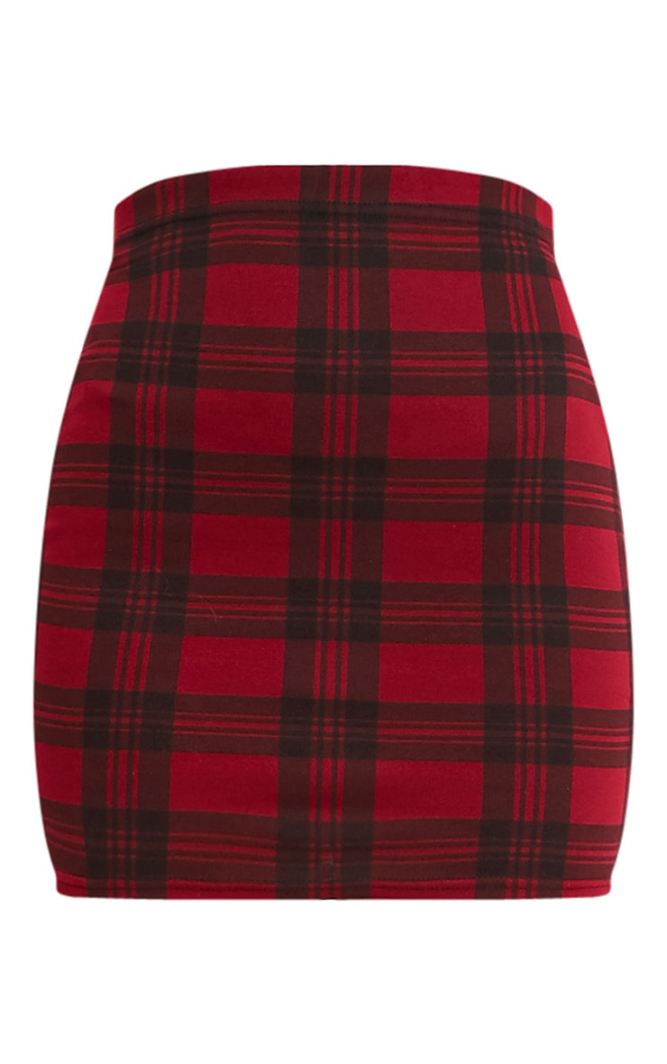 Jorin Burgundy Check Mini Skirt 3