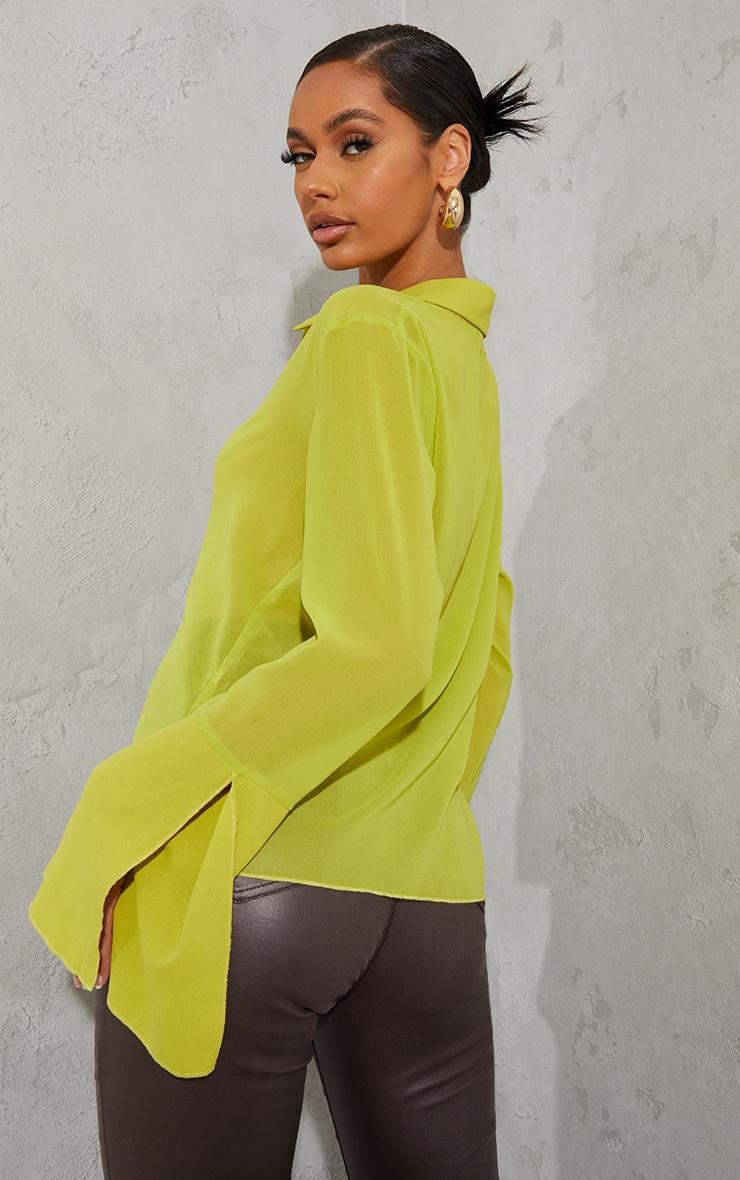 Lime Sheer Chiffon Shirt 2