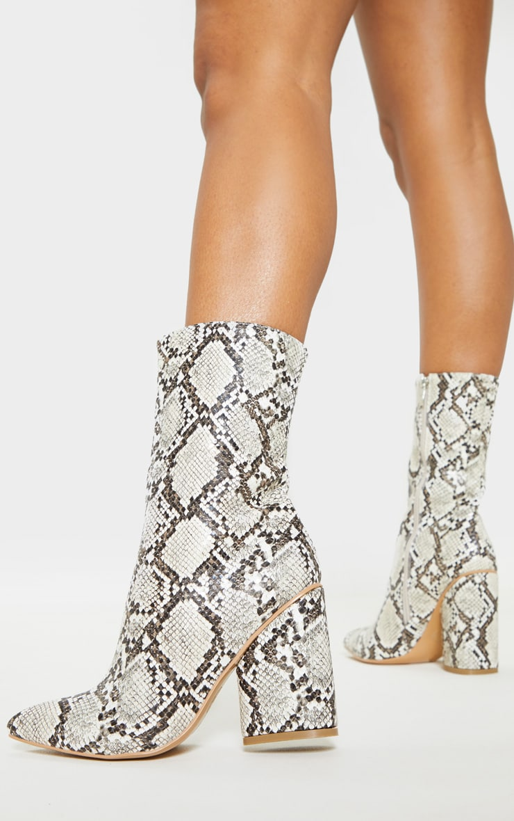 Grey Snake Chunky Block Heel Point Toe Boot 2