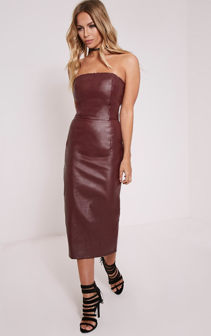 Adaline Burgundy Faux Leather Midi Dress 1