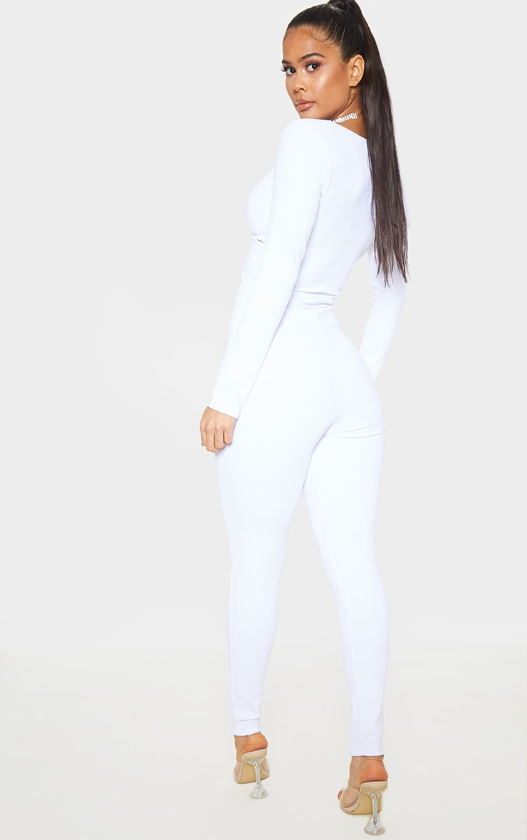 White Rib Cross Over Long Sleeve Jumpsuit 2