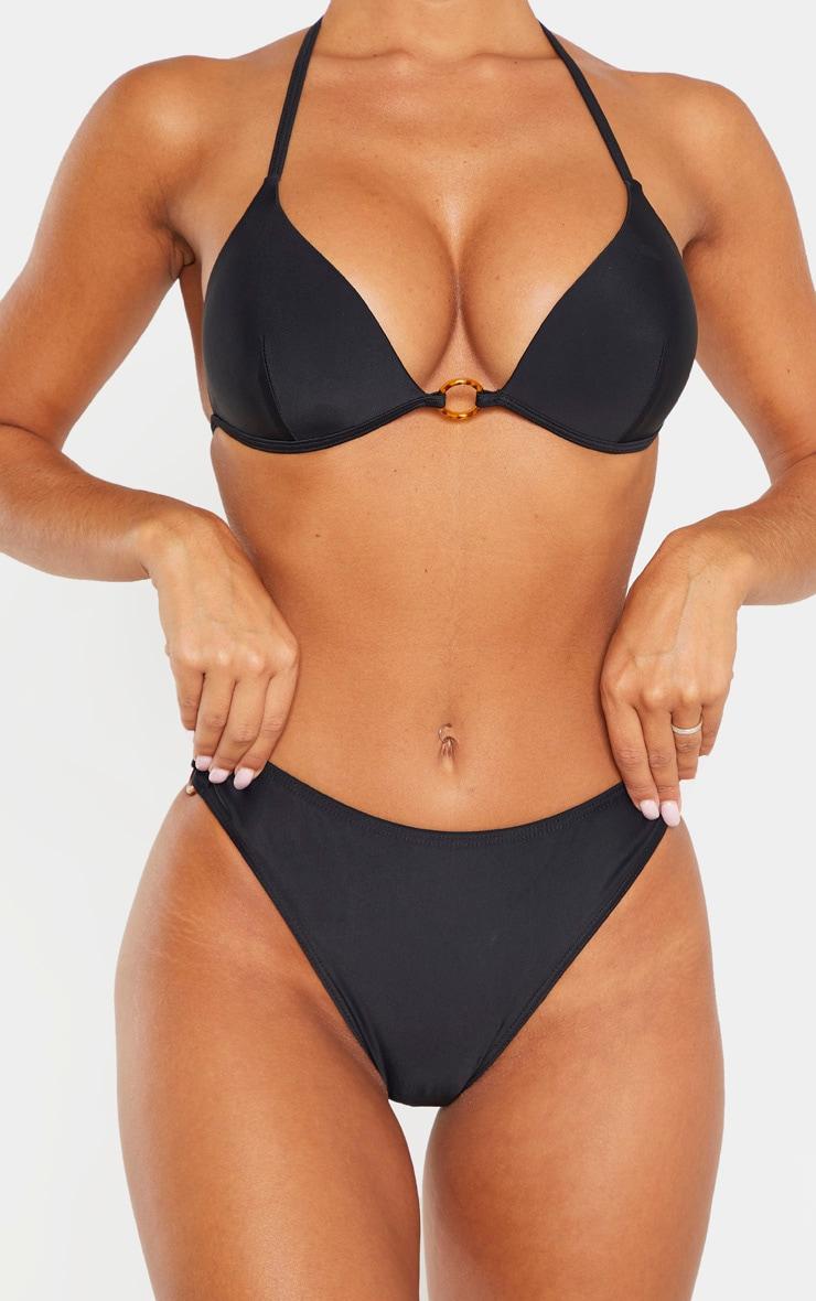 Bas de bikini noir à anneaux écaille de tortue 5