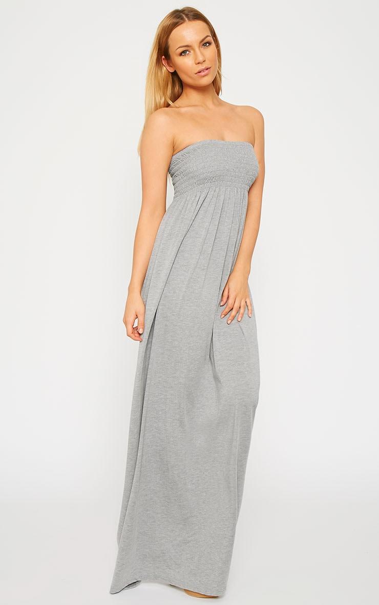 Tamara Grey Elasticated Bandeau Jersey Maxi Dress 3