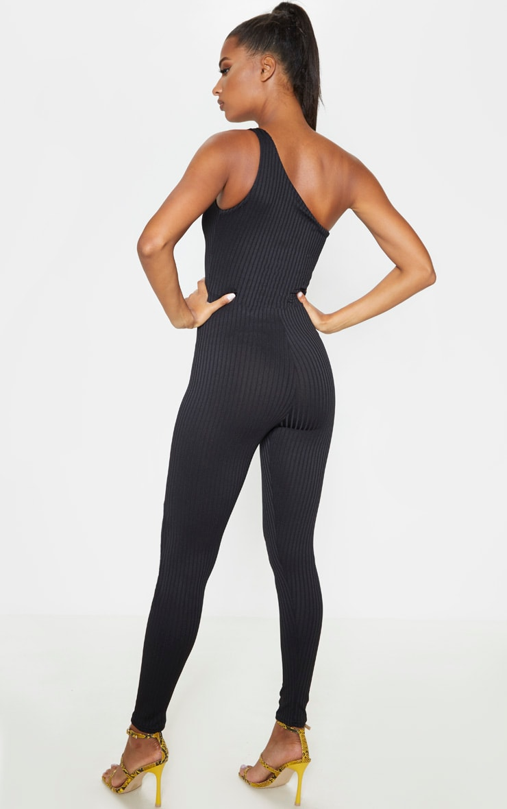 Black Rib One Shoulder Sleeveless Jumpsuit 2