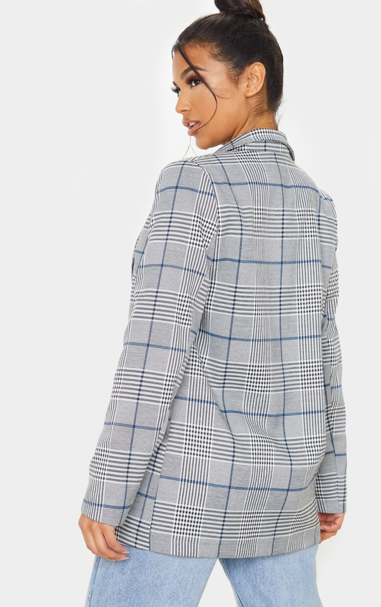 Grey Checked Button Woven Blazer   2