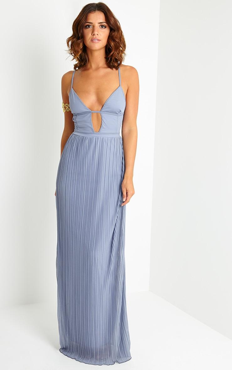 Hanna Grey Plunge Pleated Maxi Dress 1