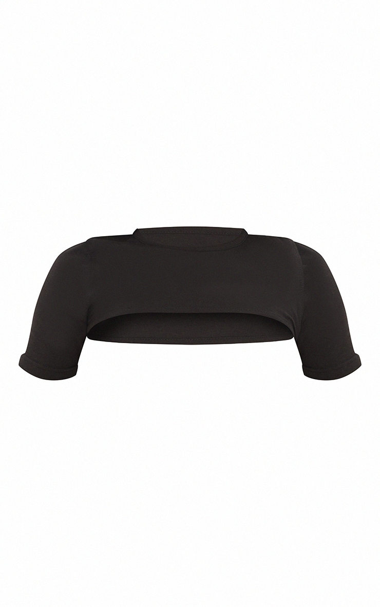 Black Cotton Overlay Arm Warmer Crop Top 5