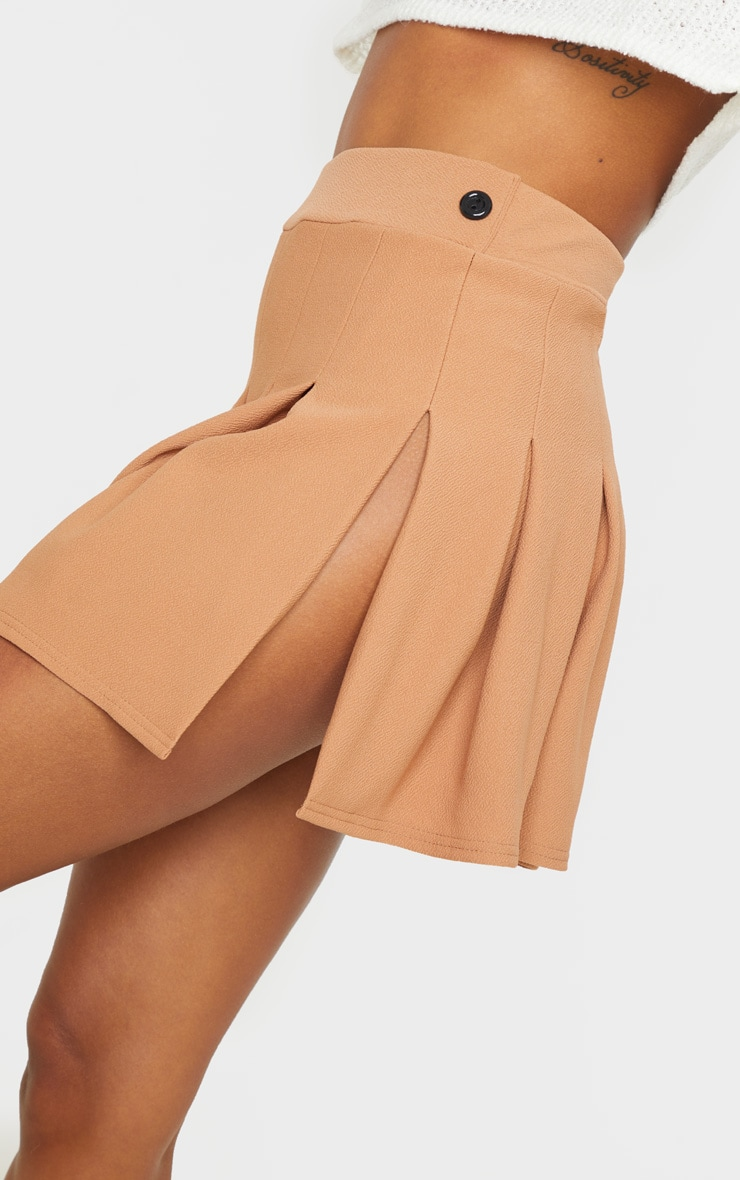 Camel Pleated Side Split Tennis Skirt 6