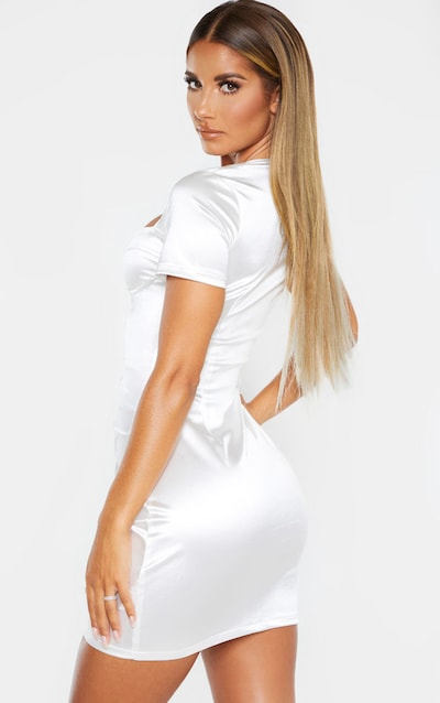 White Satin Cup Detail Ruched Front Bodycon Dress