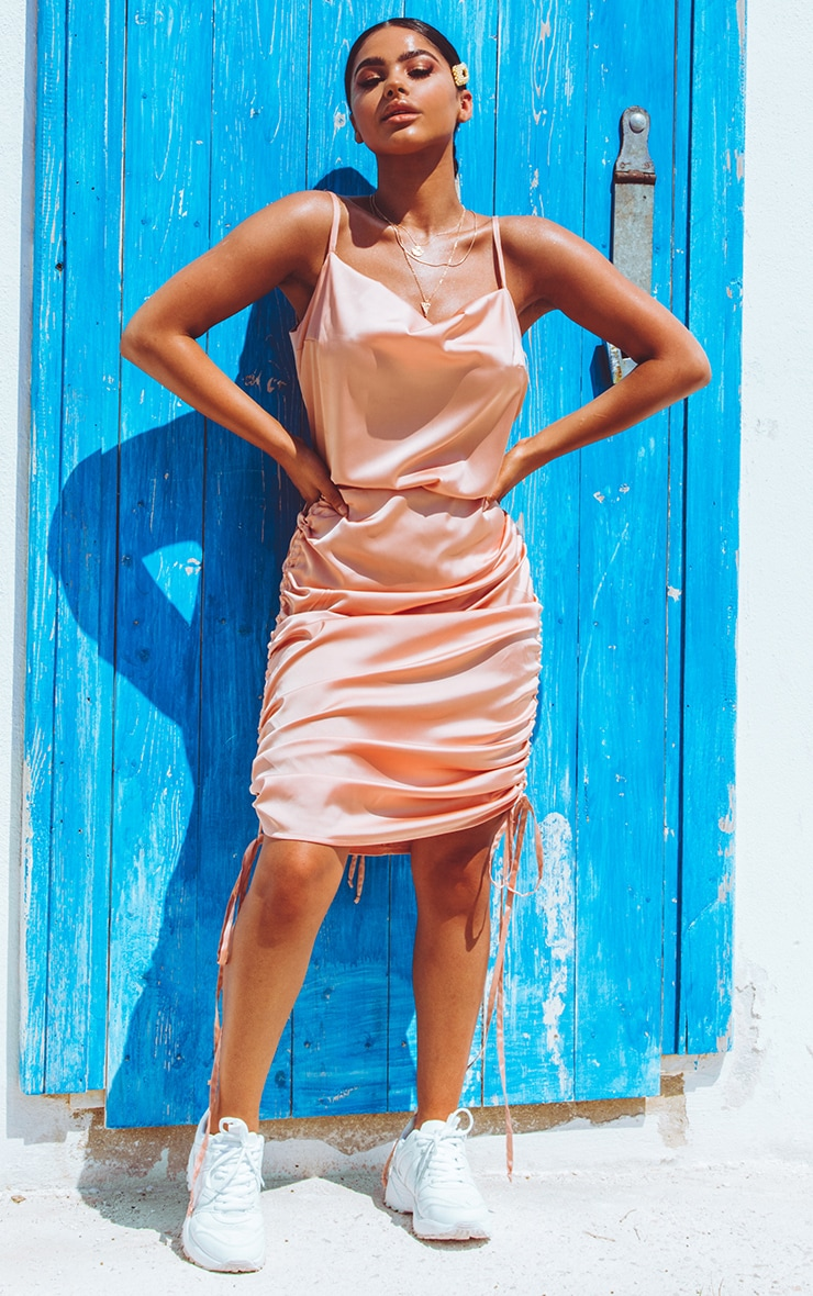 Peach Ruched Satin Mini Skirt  1
