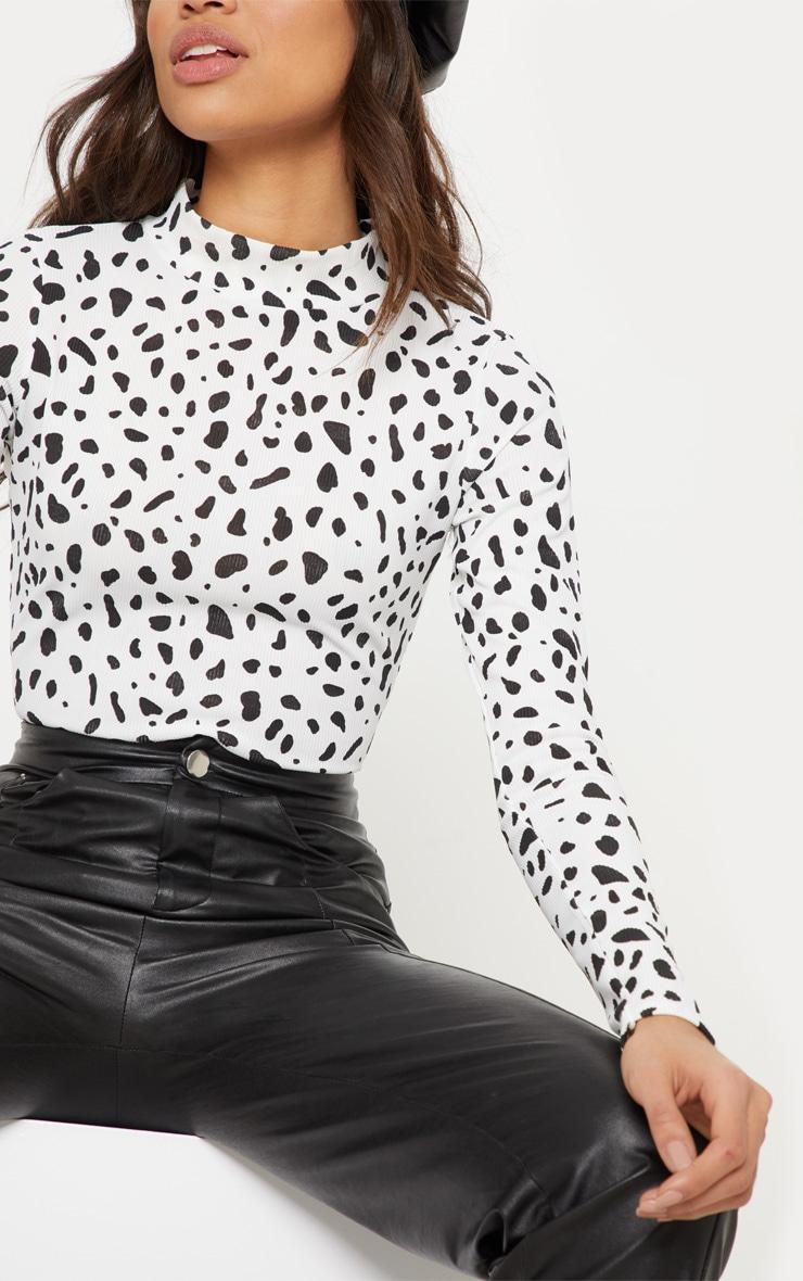 Black Dalmatian Print Rib Roll Neck Long Sleeve Bodysuit 6