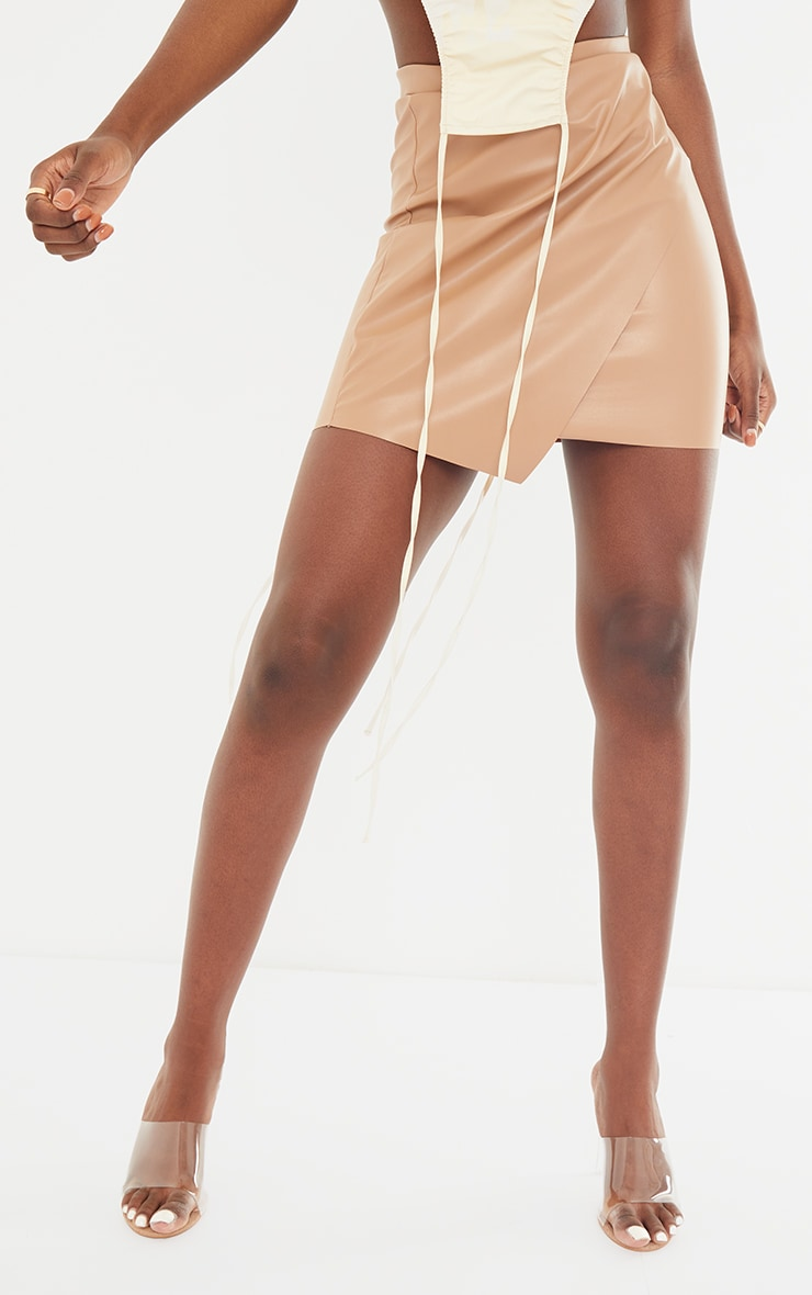 Tall Stone Faux Leather Wrap Mini Skirt 2