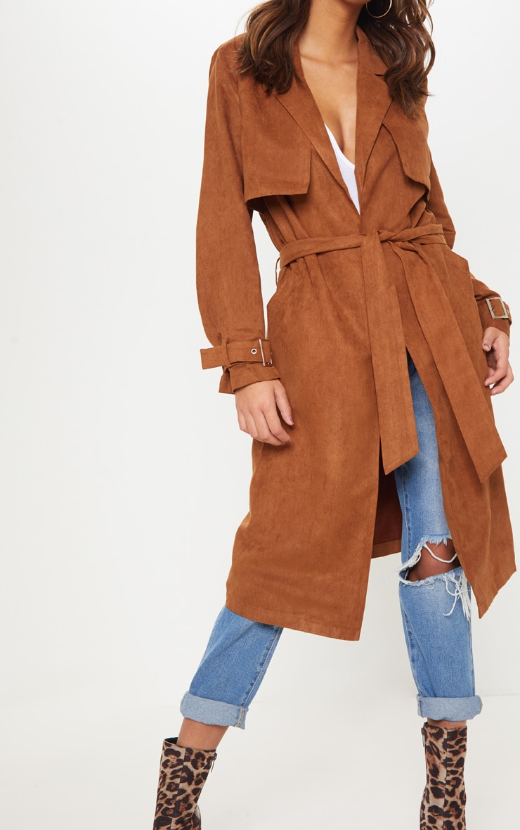 7b5839fc1e9 Brown Faux Suede Trench
