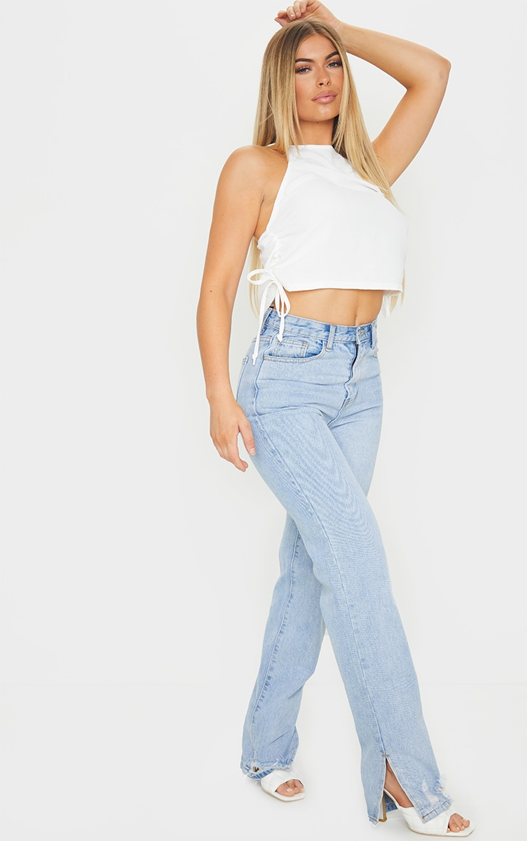 White Crepe Side Ruched Racer Cami Top 3