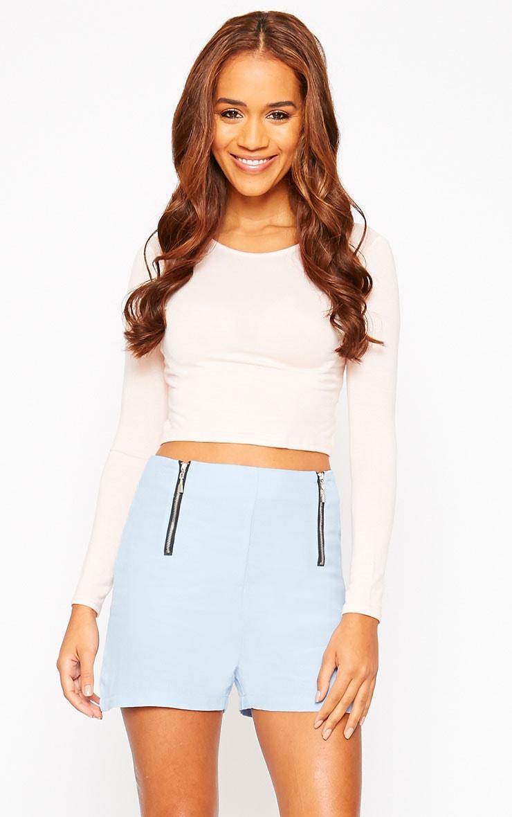 Mikkel Blue Zip Front Shorts 1