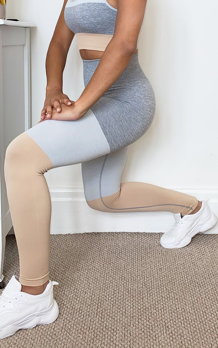 Grey Seamless 3 Tone Gym Leggings 2