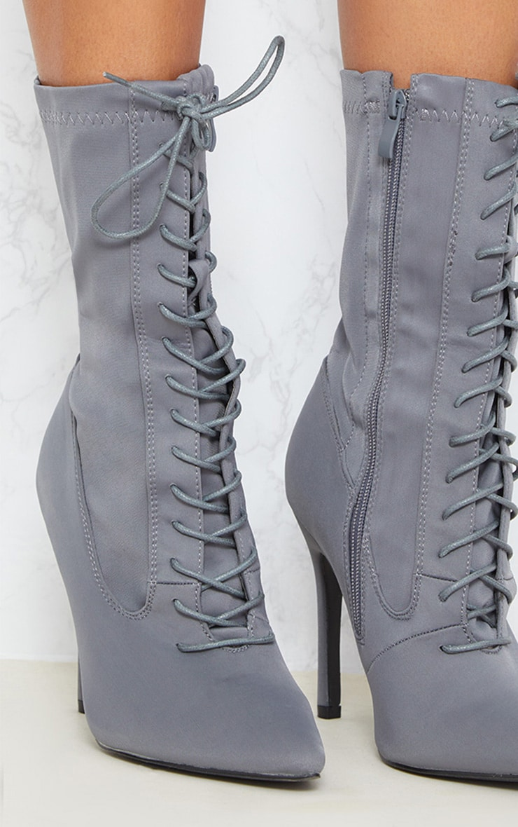 Grey Lycra Lace Up Sock Boot 5