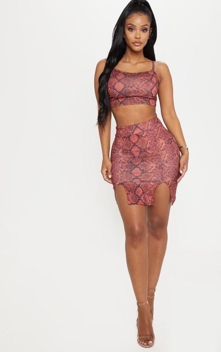 Shape Red Snake Print Split Detail Skirt 1