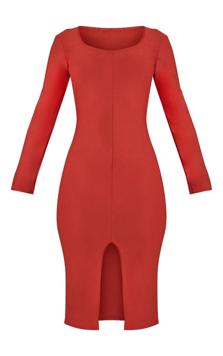 Auburn Split Front Scoop Neck Midi Dress  3