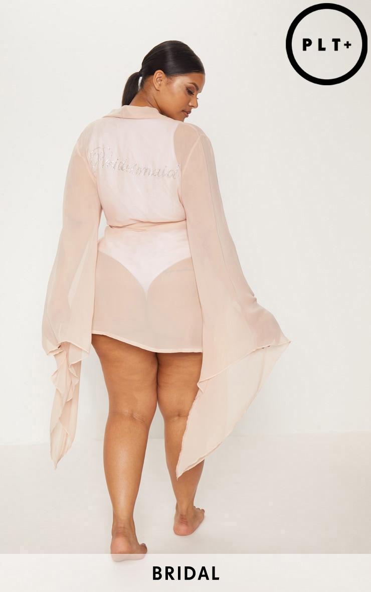 Plus Nude Bridesmaid Diamante Chiffon Kimono