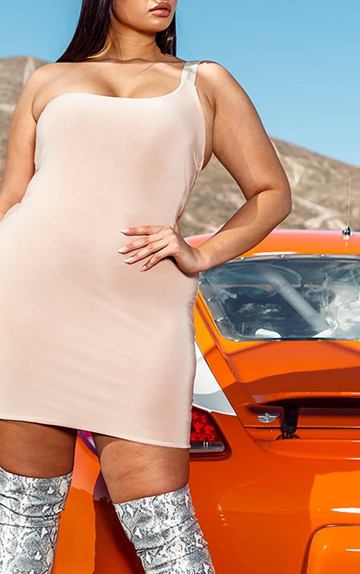 PRETTYLITTLETHING Plus Nude One Shoulder Slinky Bodycon Dress 4