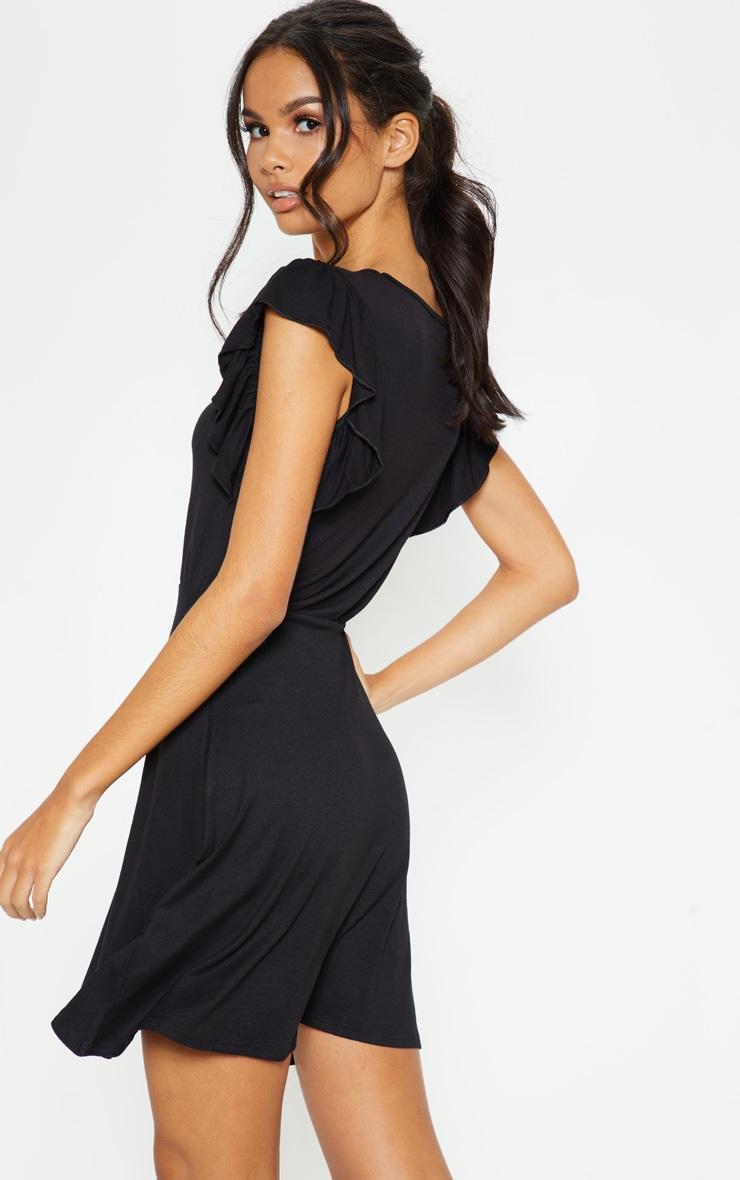 Black Frill Sleeve Shift Dress 2