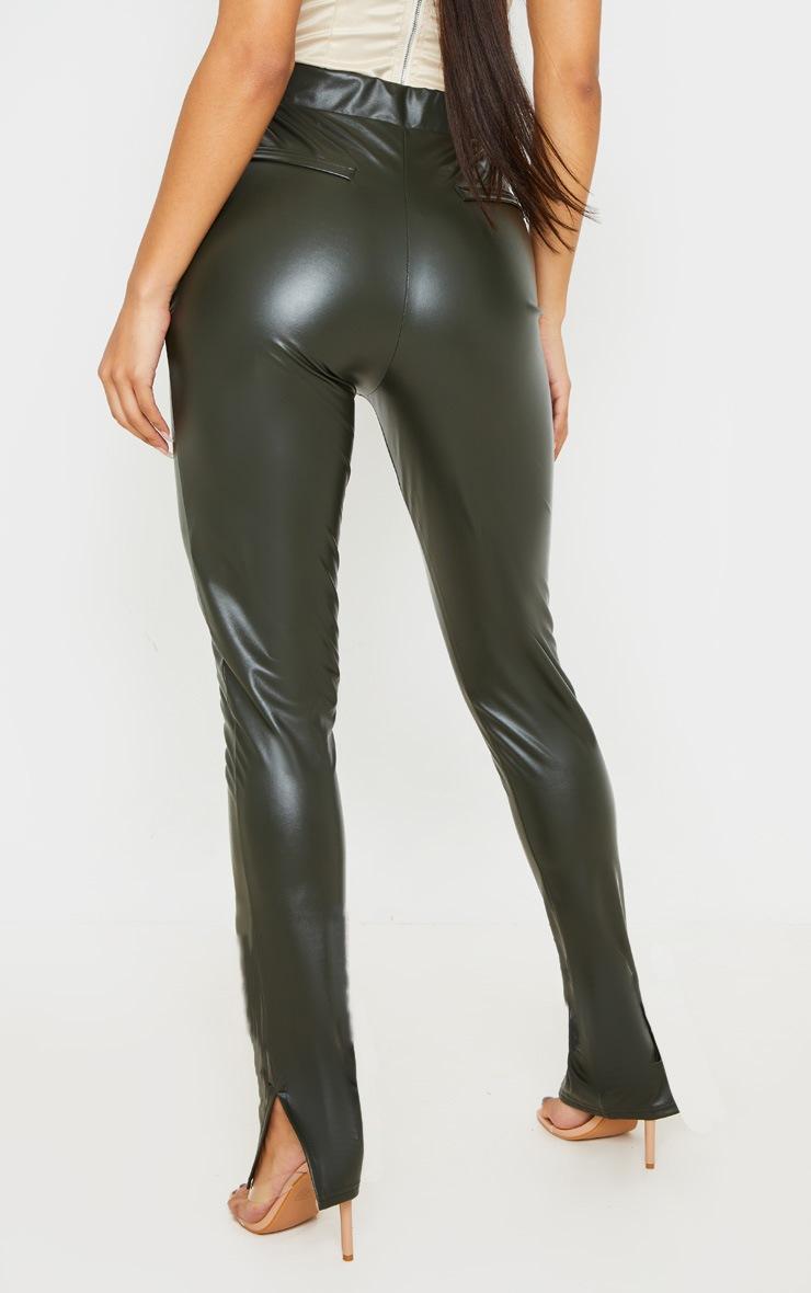 Khaki Faux Leather Split Hem Skinny Pants 4