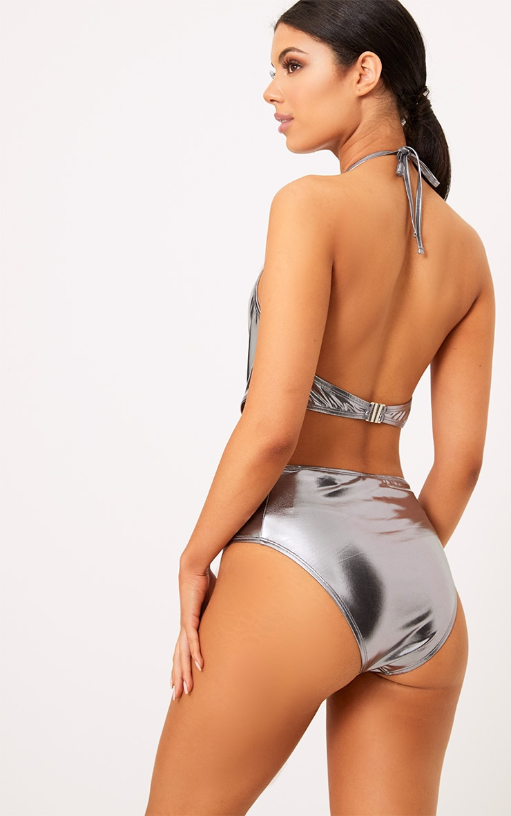 Ronnie Silver Metallic Knot Front Swimsuit 2