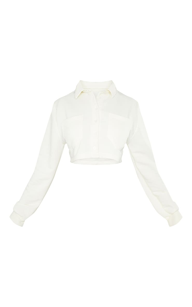 PRETTYLITTLETHING Cream Button Front Crop Polo Shirt 5