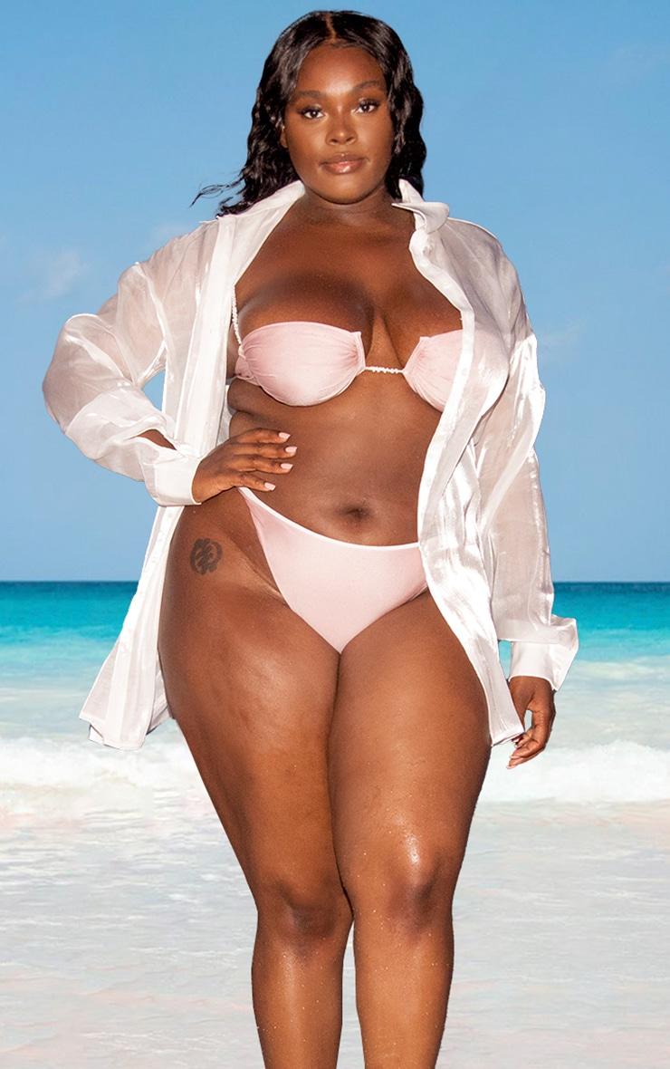 Plus White Pearl Organza Beach Shirt 1