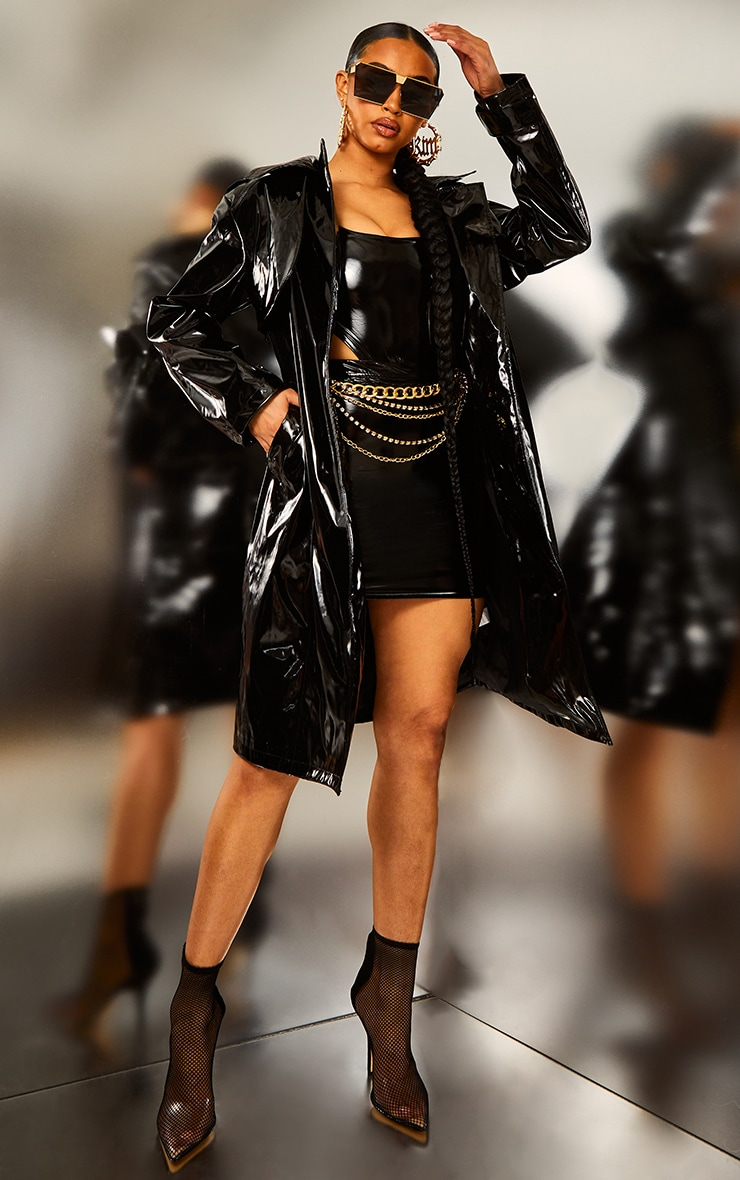 Black Belted Patent Trench Coat 6