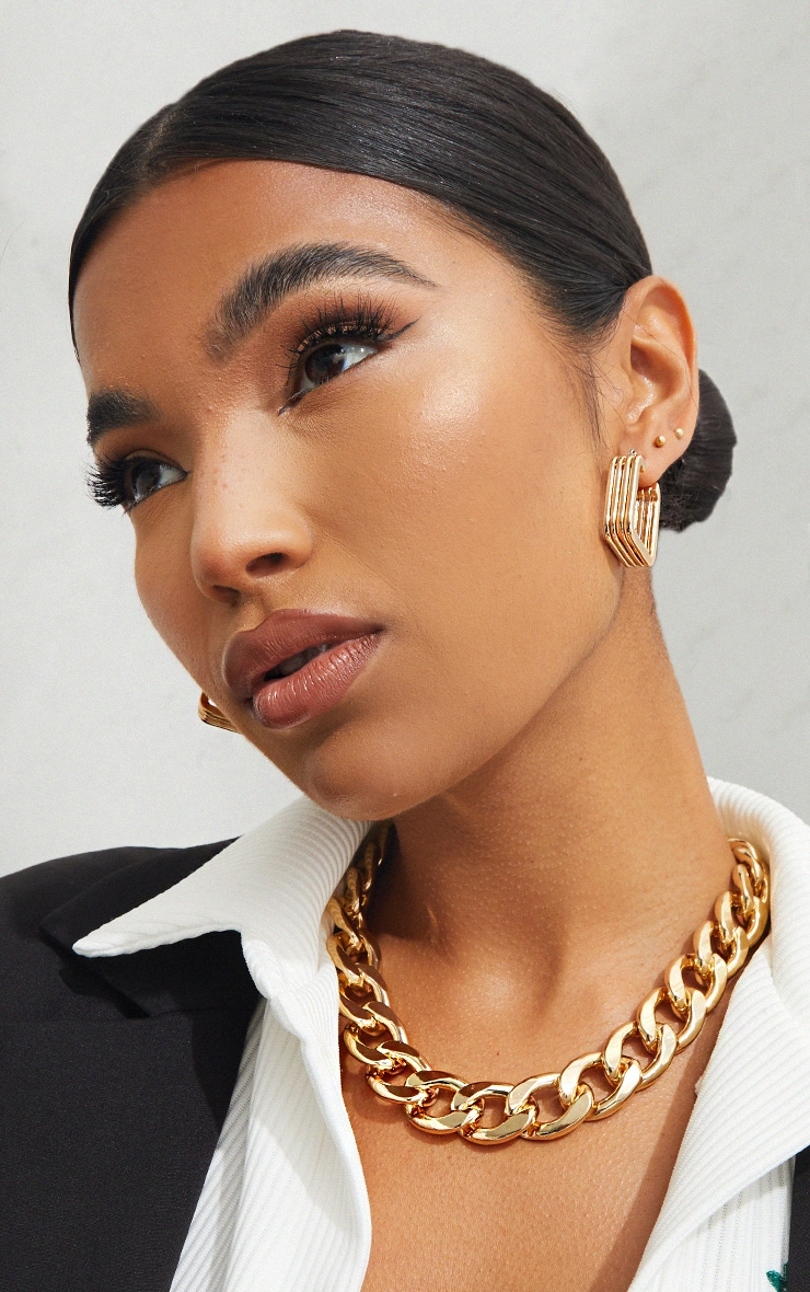 Gold Oversized Statement Curb Chain Necklace image 1