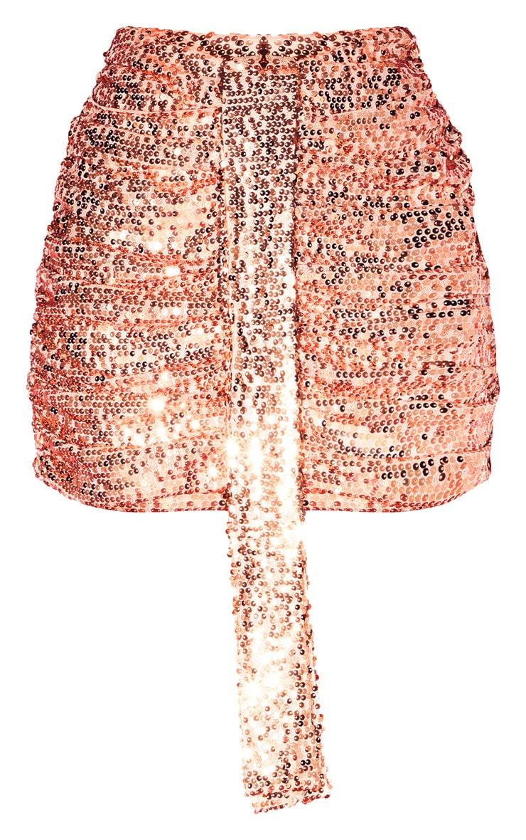 Rose Gold Sequin Ruched Mini Skirt  3