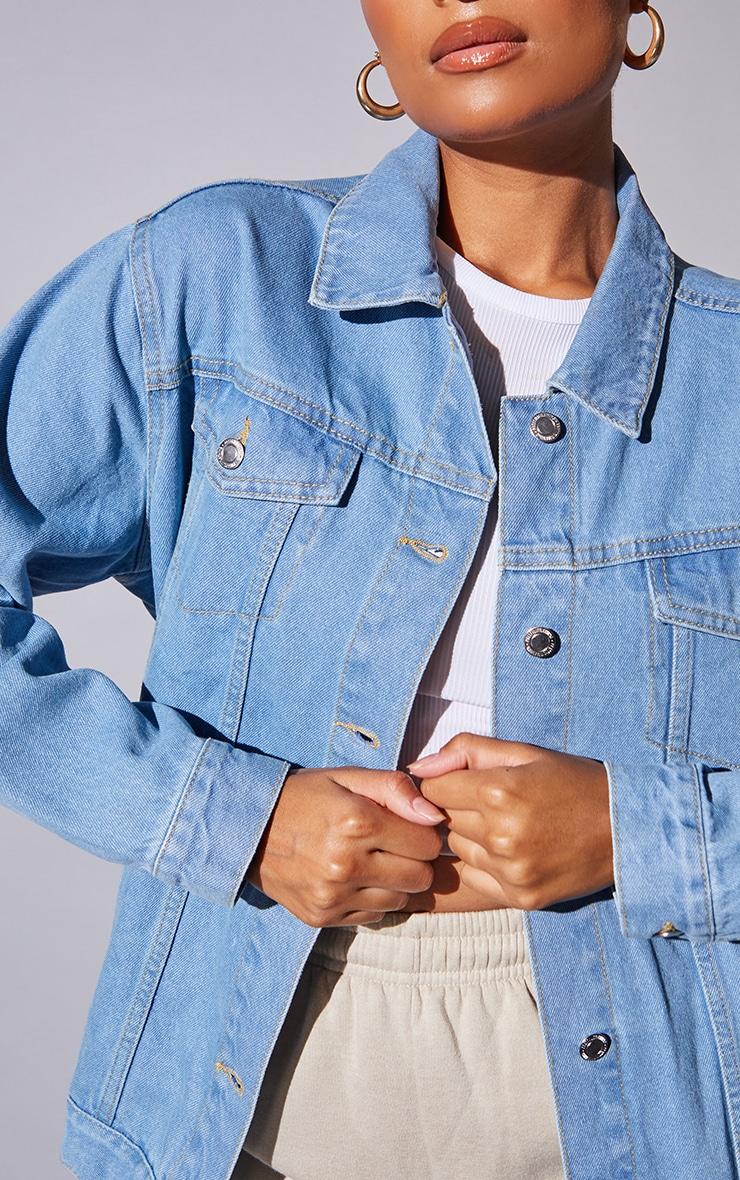 Recycled Light Blue Wash Basic Oversized Boyfriend Denim Jacket 4