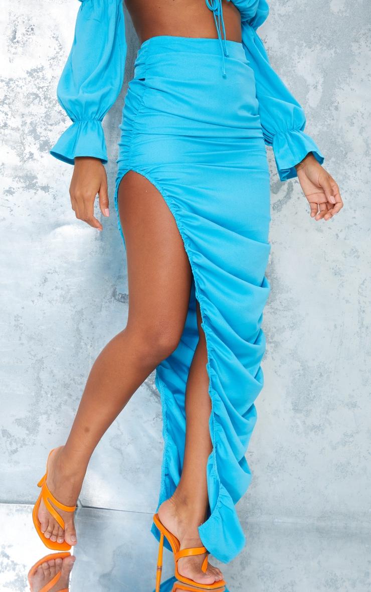 Bright Blue Woven Ruched Side Detail Split Leg Midaxi Skirt 2