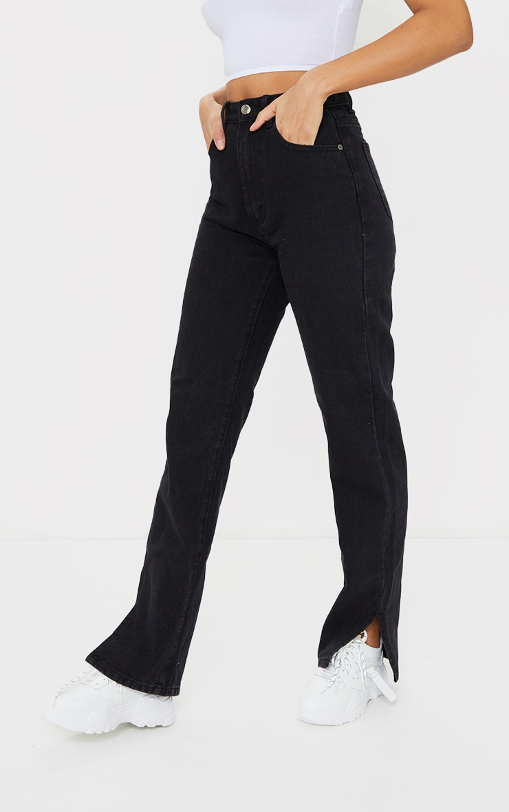 Black Split Hem Jeans 2