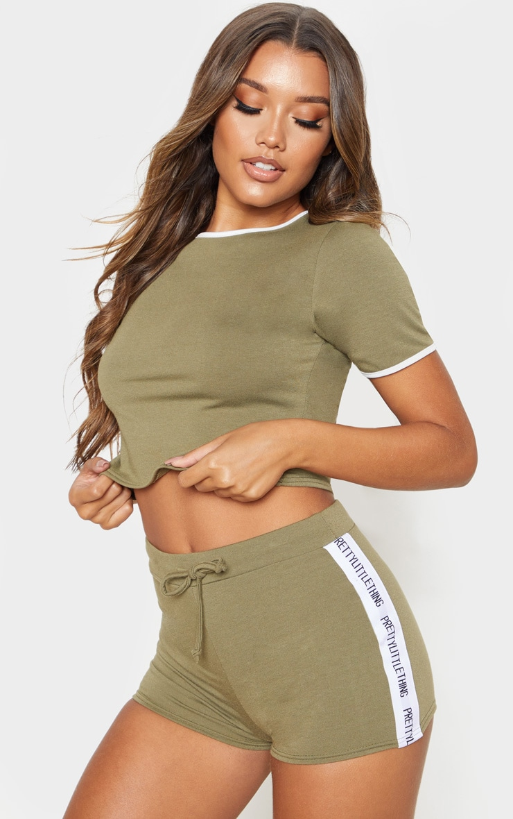 PRETTYLITTLETHING Khaki PJ Short Set 1