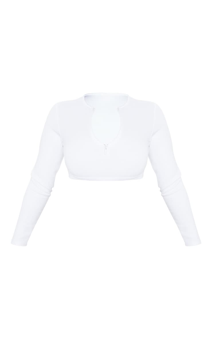 White Bonded Scuba Zip Long Sleeve Crop Top 3