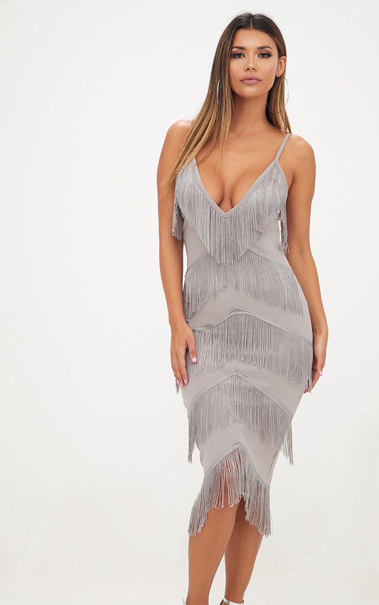 Ice Grey Strappy Tassel Longline Midi Dress 1