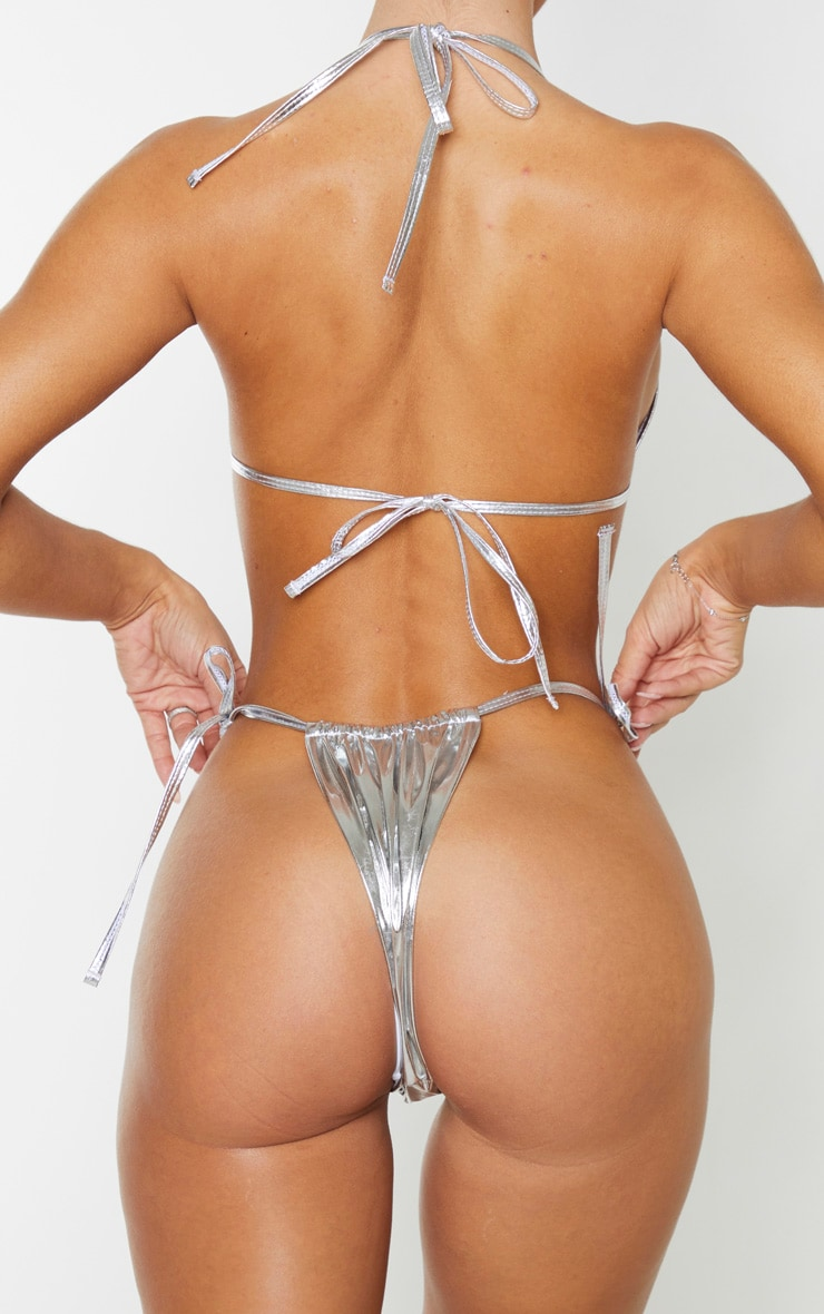 Silver Vinyl Adjustable Tie Side Bikini Bottom 4