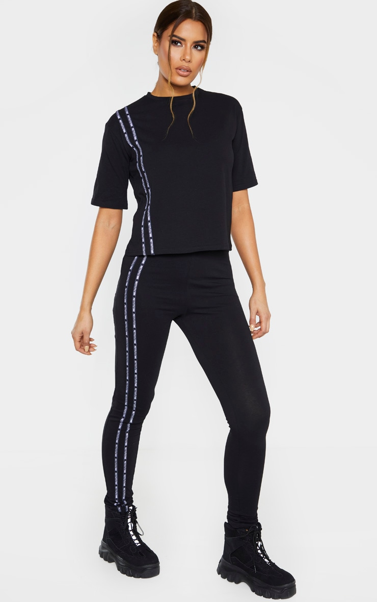 PRETTYLITTLETHING Tall Black Taping Legging  1