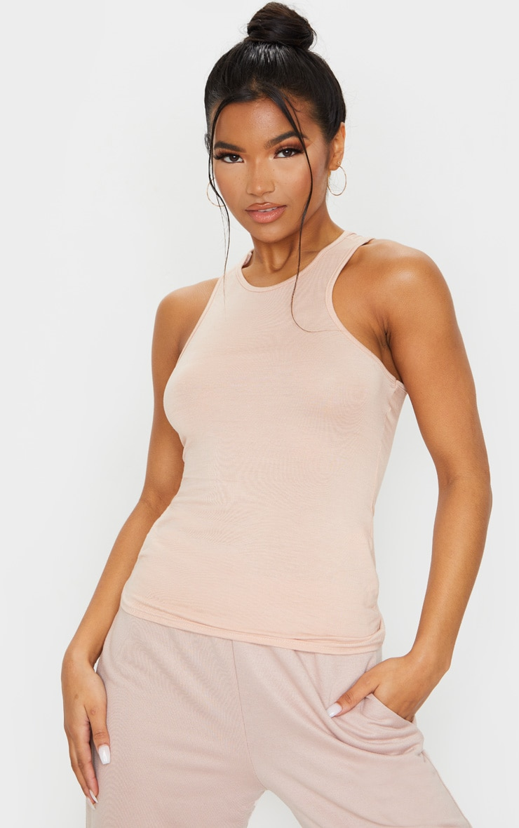 Nude Racer Neck Long Vest Top 1