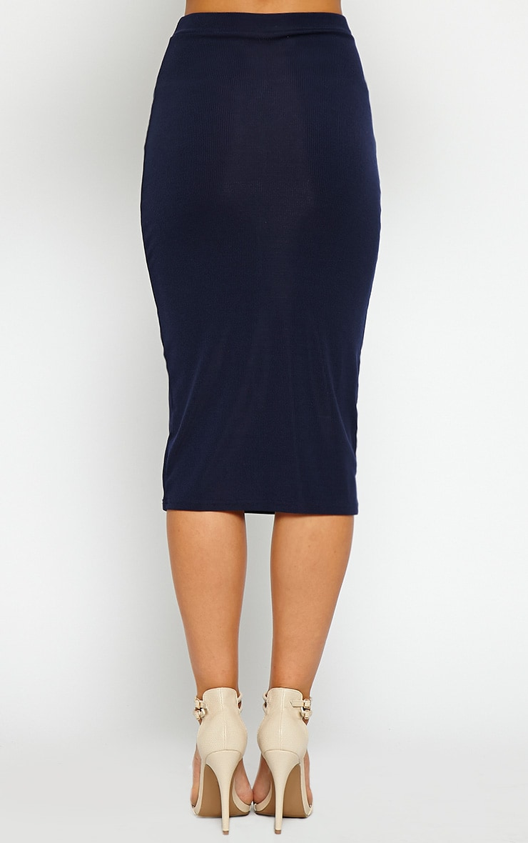 Basic Navy Ribbed Midi Skirt 3