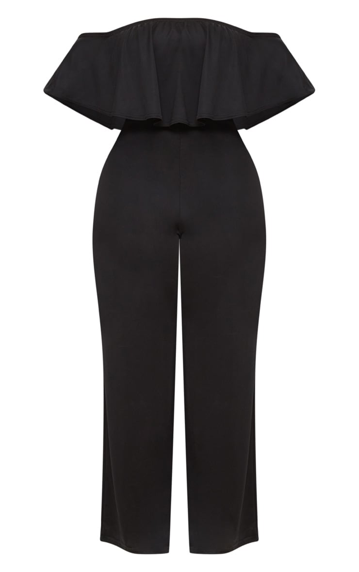 Plus Black Bardot Frill Jumpsuit 3