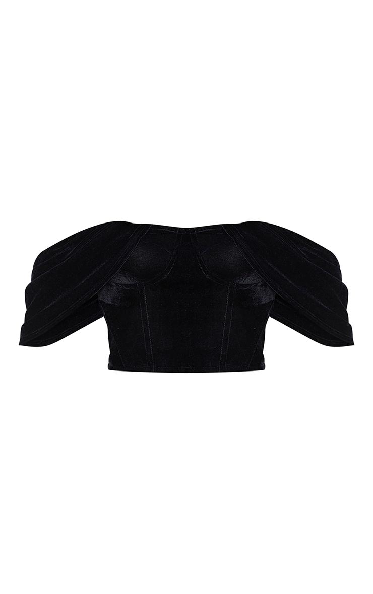 Black Velvet Bardot Draped Sleeve Corset 5