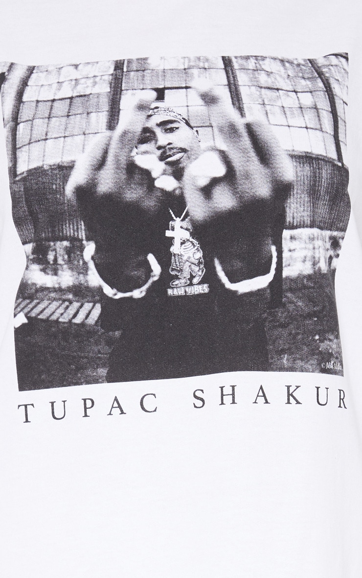White Tupac Middle Finger Oversized Jumper Dress 5