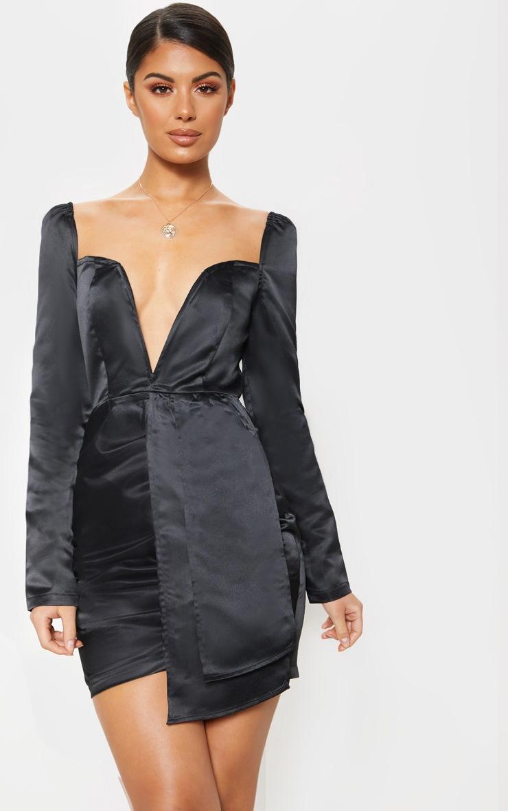 Black Satin V Bar Drape Bodycon Dress 4